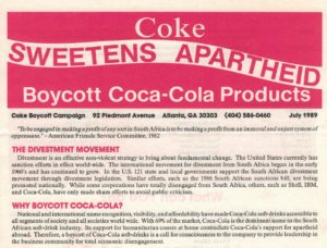 An example of a boycott against brands doing business in apartheid South Africa