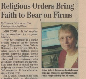 IASJ affiliate Sr. Valerie Heinonen is featured in the Washington Post for decades of work on corporate responsibility